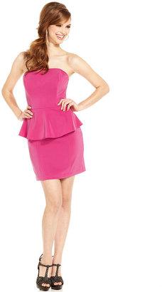 GUESS Dress, Libby Strapless Straight-Neck Peplum