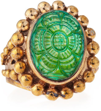 Stephen Dweck Green Mother-of-Pearl Carved Oval Ring