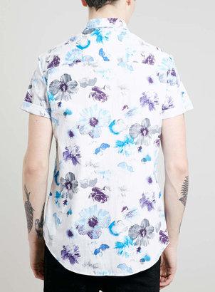 Topman White Floral Print Short Sleeve Shirt