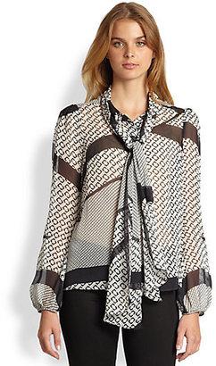 Diane von Furstenberg Jezebel Silk Chiffon Printed Blouse