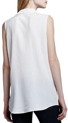 Equipment Signature Sleeveless Pocket Blouse, White