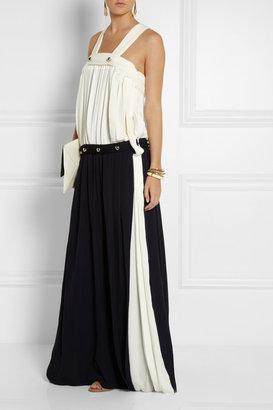 Chloé Two-tone silk-georgette maxi dress