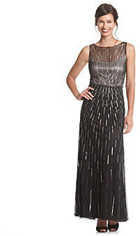 J Kara Blouson Beaded Long Dress
