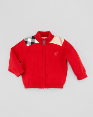 Burberry Woven Check-Shoulder Zip Cardigan, Red, 6-18 Months