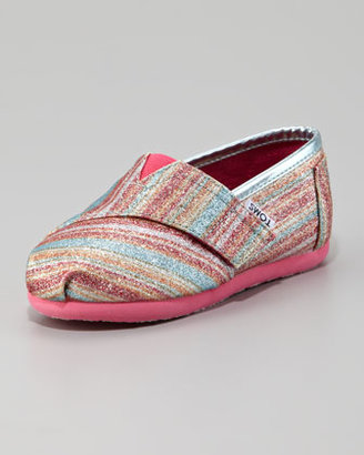 Toms Pink Glitter Striped Slip-On, Tiny
