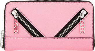 Kenzo Hot Pink Calfskin Zip-Around California Wallet