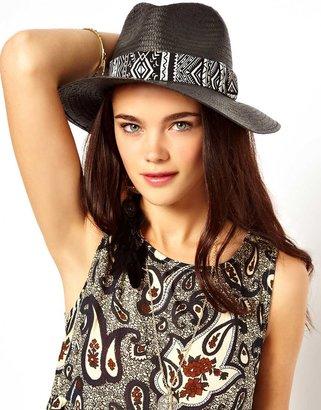 River Island Panama Hat With Zebra Trim