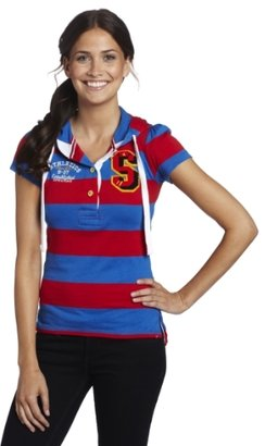 Southpole Juniors Fashion Short Sleeve Rugby Stripe Hooded Top