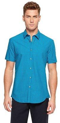 HUGO BOSS Bastiano Regular Fit, Cotton Check Print Button Down Shirt - Bright Blue