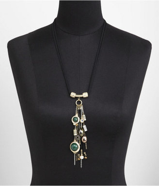 Express Multi Charm, Cabochon And Suede Fringe Necklace