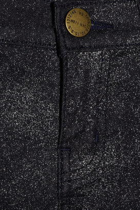 Current/Elliott The Stiletto metallic-flecked mid-rise skinny jeans
