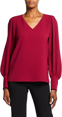 Lafayette 148 New York Lenore V-Neck Finesse Crepe Blouse