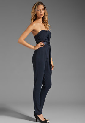Halston Strapless Twist Front Jumpsuit with Belt