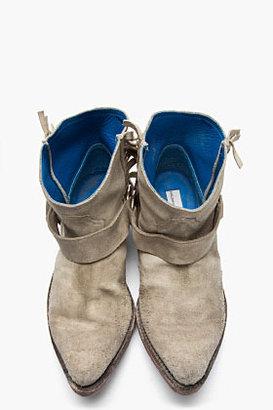 Golden Goose Beige Distressed Suede Fringe Rennie Boots