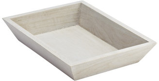 Container Store Medium Whitewashed Wood Tapered Tray