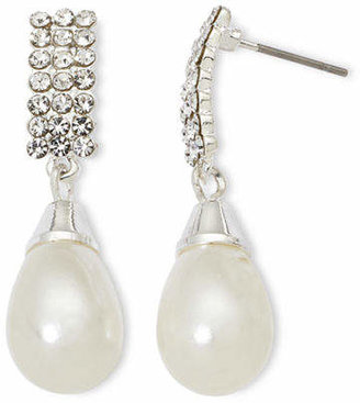 Vieste Rhinestones and Simulated Pearl Drop Earrings