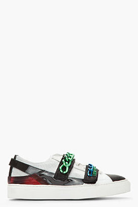 Raf Simons Black & White Low Top Two-Tone Chained Velcro Sneakers