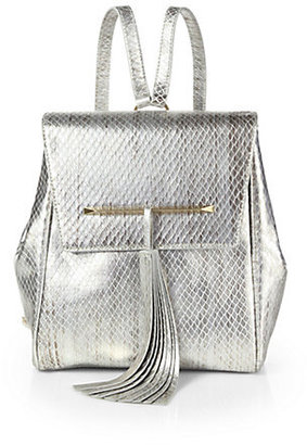 Brian Atwood Juliette Metallic Snake-Embossed Leather Small Backpack