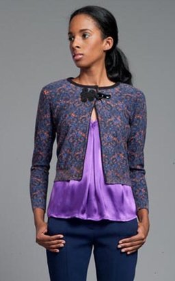 Tracy Reese Violet Medallions Little Cardigan with Frog Closure