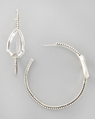 Stephen Dweck Cathedral Large Silver Hoop Earrings, Rock Crystal