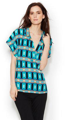 Tracy Reese Printed Silk Surplus Shirt