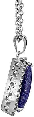 Lapis Sterling silver 1/3-ct. t.w. diamond & teardrop pendant