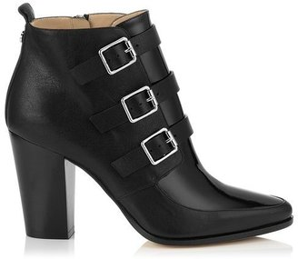 Jimmy Choo Hutch Black Textured Leather and Patent Ankle Boots