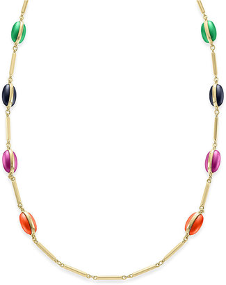 Charter Club Necklace, Gold-Tone Multi-Color Oval Bead Long Necklace