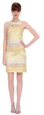 Kay Unger Banded Mixed Media Cocktail Dress