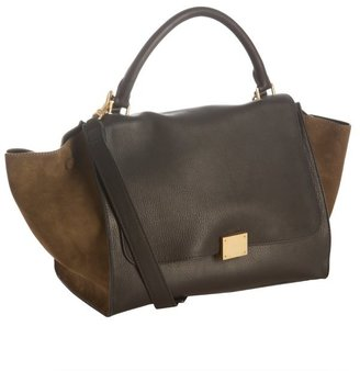 Celine black and olive leather colorblock convertible bag