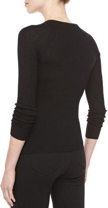 Michael Kors Button-Shoulder Cashmere Top, Black