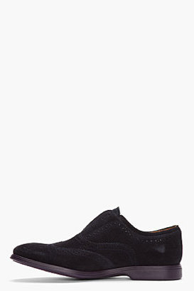 Paul Smith Navy Suede Purple-Soled Laceless Carson Wingtip Brogues
