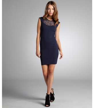 French Connection midnight blue 'Lori' lace yoke stretch knit dress