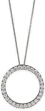 Roberto Coin 18K White Gold and Diamond Large Circle Necklace, 16