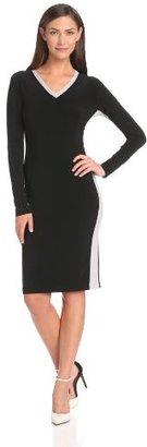 KAMALIKULTURE Women's Side Stripe V-Neck Dress