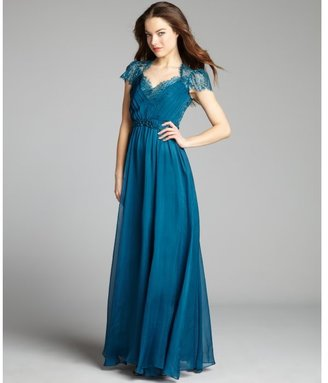 ABS by Allen Schwartz teal silk chiffon and lace belted jewel embellished gown