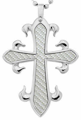 FINE JEWELRY Mens Cross Pendant Necklace Stainless Steel
