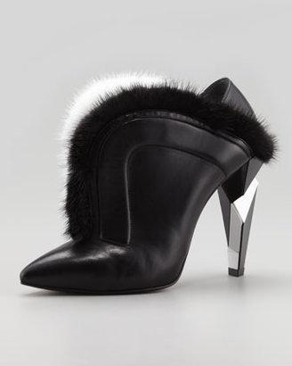 Fendi V-Neck Fur Ankle Boot, Black