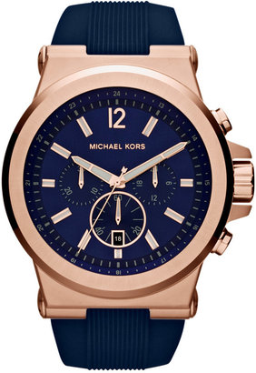 Michael Kors Men's Chronograph Dylan Navy Silicone Strap Watch 48mm MK8295 $250 thestylecure.com