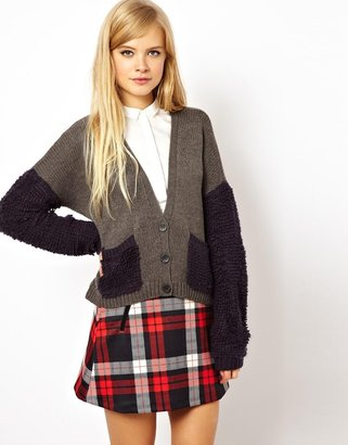 Asos Cropped Cardigan With Faux Fur Details