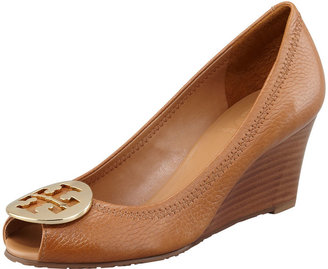 Tory Burch Sally 2 Leather Wedge Pump, Tan/Gold