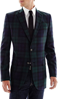 JCPenney Stafford Black Watch Plaid Wool Sport Coat