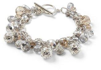 White House Silvertone Filigree Charm Bracelet