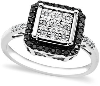Ring Black Sterling Silver Ring, Black and White Diamond Square Ring (1/5 ct. t.w.)