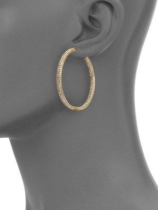 "Adriana Orsini Pave Crystal & 18K Goldplated Inside-Outside Large Hoop Earrings/1.75"""