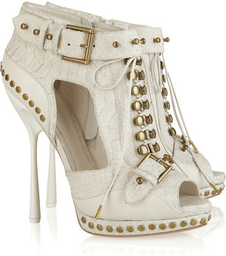 Alexander McQueen Stud-embellished python and leather ankle boots