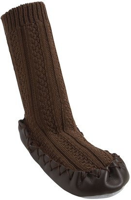Nowali Cable Knit Moccasin - Brown-6 Months