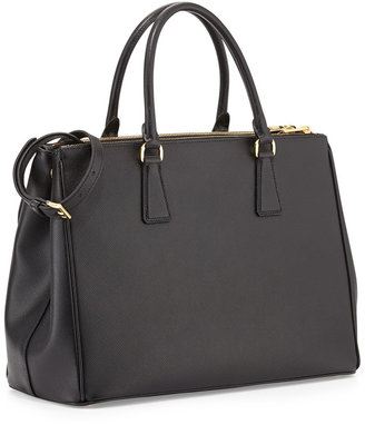 Prada Saffiano Double-Zip Executive Tote Bag, Black (Nero)