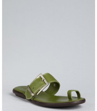 Hogan green leather 'Ibiza' toe ring sandals