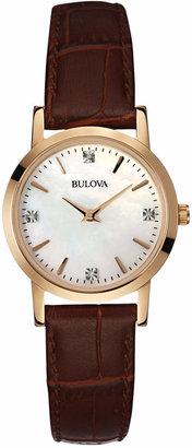Bulova Women's Diamond Accent Brown Leather Strap Watch 27mm 97P105 $250 thestylecure.com